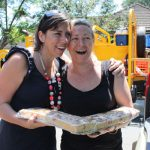 Danielle Crismani delivers some baked relief to Sally Lynch in Fairfield